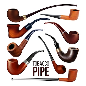 Tobacco pipes vintage wooden smoke tool set