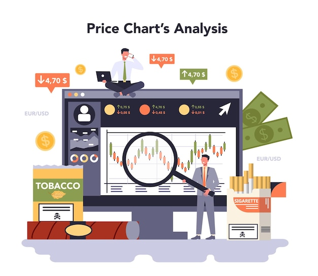 Tobacco production industry online service or platform. smoking products manufacturing. cigarette, smoking and hoocah tobacco. price chart analysis. vector flat illustration