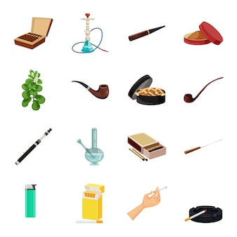 Tobacco vector cartoon icon set