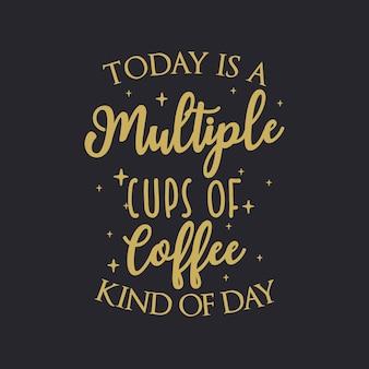 今日はコーヒーのレタリングの複数のカップです