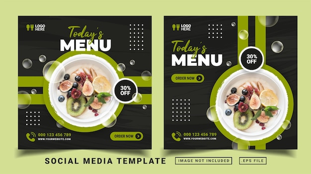 Today's menu social media post template. flyer or sosical media post suitable for promotion sale