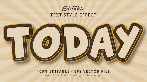 Today text on comic poster style effect, editable text effect