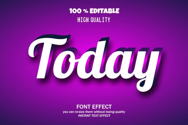 Сегодня текст, редактируемый эффект шрифта