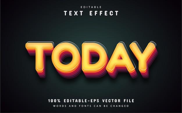 Сегодняшний текст, редактируемый текстовый эффект