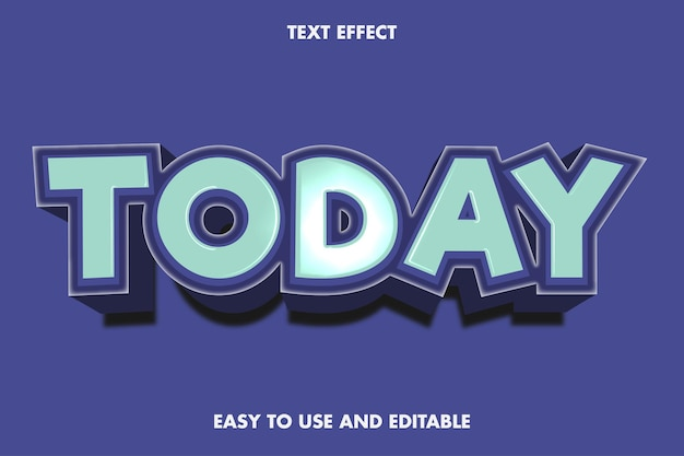 Текстовый эффект сегодня. редактируемый и простой в использовании. Premium векторы