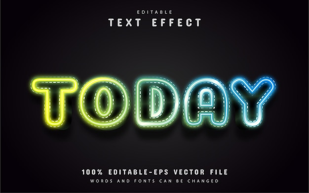 Сегодняшний текст, текстовый эффект в неоновом стиле