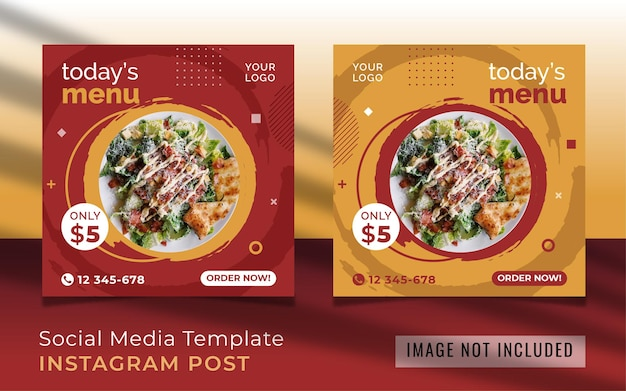 Todays menu promo social media post template