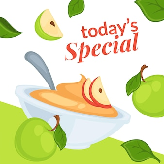 Todays special on desserts with apple slices sale