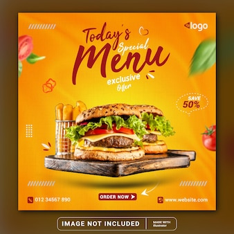 Todays special menu banner restaurant social media banner template or square flyer