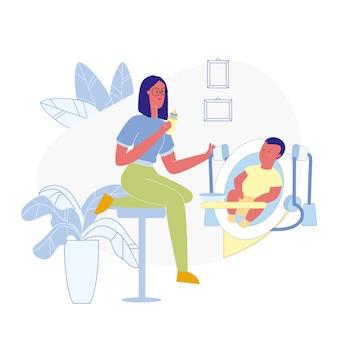 Toddler feeding process flat vector illustration