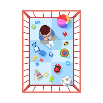 Toddler in playpen semi flat rgb color vector illustration. infant play with toys in safe space. home playground for kid. baby isolated cartoon character top view on white background