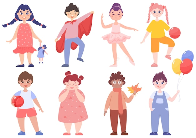 Toddler set. collection of baby boy and girl doing different activity. cute kid play with toy. happy toddler.   illustration