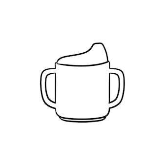 유아 sippy 컵 손으로 그린 개요 낙서 아이콘. 흰색 배경에 격리된 인쇄, 웹, 모바일 및 인포그래픽을 위한 어린이 및 신생아 벡터 스케치 삽화를 먹이기 위한 영양 병.