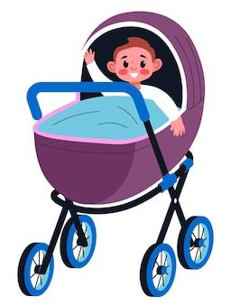 Малыш сидит в коляске, покрытой одеялом, изолированным ребенком, махающим руками. возбужденный персонаж в багги, счастливое детство. уход за детьми и развитие kiddo. вектор в плоском стиле