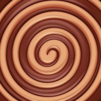 タフィーとチョコレートは、渦巻き模様の背景をラウンドします。