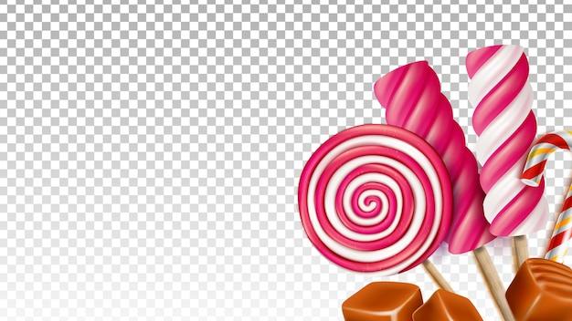 Карамель ириски и леденец сладкие конфеты вектор. вкусный десерт из сладких конфет, сладкий леденец на палочке. вкусный сладкий лизать пищу шаблон реалистичные 3d иллюстрации