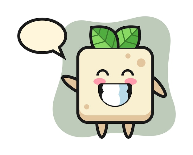 Tofu cartoon character doing wave hand gesture, cute style design for t shirt