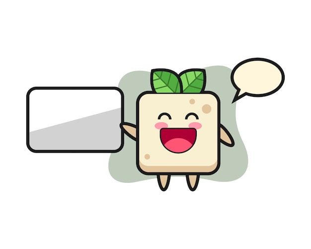 Tofu cartoon illustration doing a presentation, cute style design for t shirt