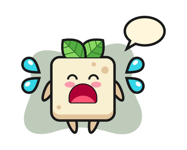 Tofu cartoon illustration with crying gesture, cute style design for t shirt
