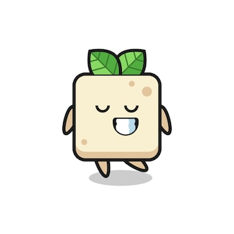 Tofu cartoon illustration with a shy expression , cute style design for t shirt, sticker, logo element