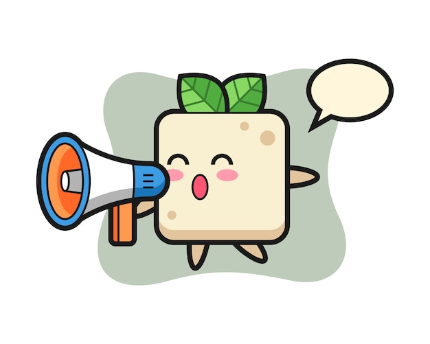 Tofu character illustration holding a megaphone, cute style design for t shirt