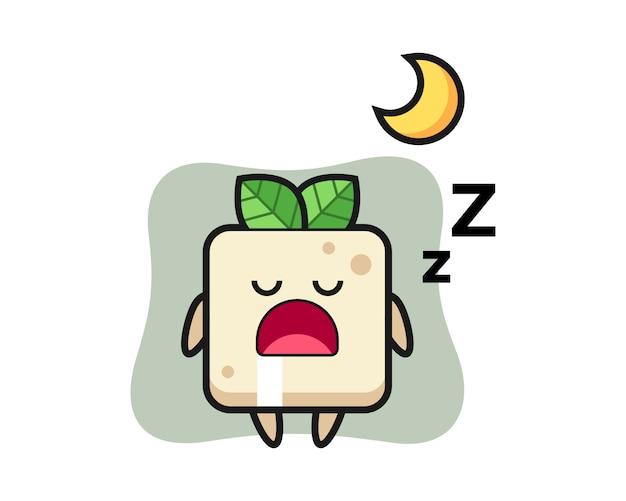 Иллюстрация характера тофу спать ночью, милый дизайн стиля для футболки