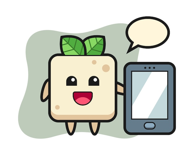 Tofu illustration cartoon holding a smartphone, cute style design for t shirt