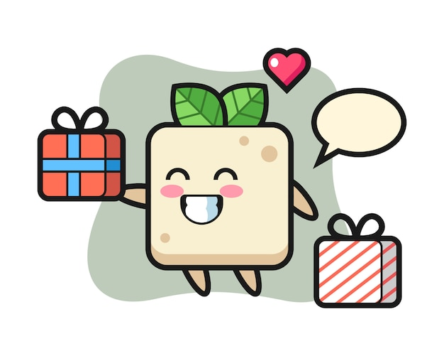 Tofu mascot cartoon giving the gift, cute style design for t shirt
