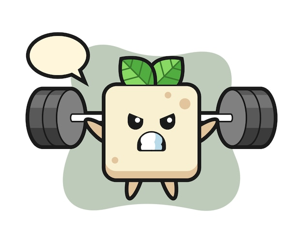 Tofu mascot cartoon with a barbell, cute style design for t shirt