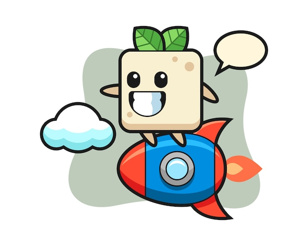 Tofu mascot character riding a rocket, cute style design for t shirt