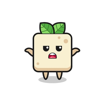 Tofu mascot character saying i do not know , cute style design for t shirt, sticker, logo element