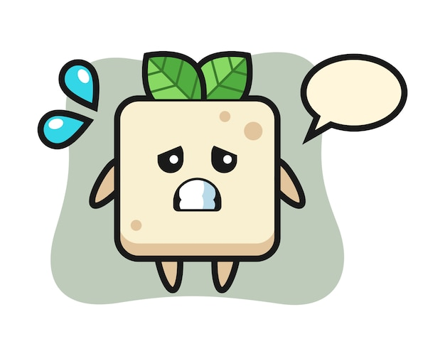 Tofu mascot character with afraid gesture, cute style design for t shirt