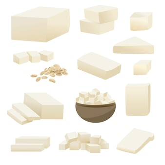Tofu vector collection in square slice in cup and soy bean.