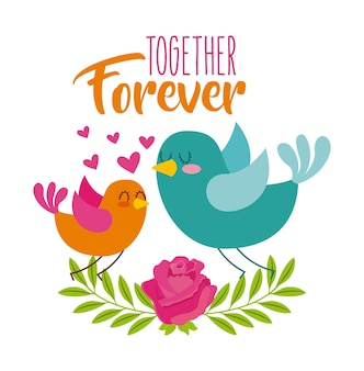 Together forever birds love hearts flower