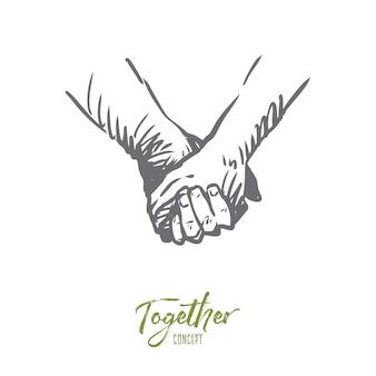 一緒に、手、友情、愛、パートナーシップの概念。握手または手をつないで描かれた人の概念スケッチ。