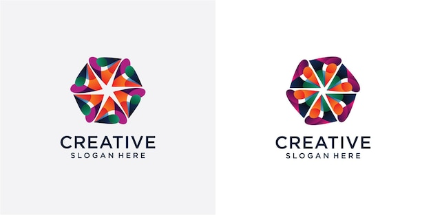 Togetherness and community concept design, creative hub, social connection icon, template and logo set. digital community logo design