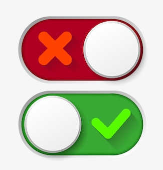 Toggle button switch off or turn on slider icons
