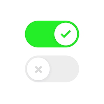 Toggle switch buttons on and off icon with green yes and red no checkmark symbols