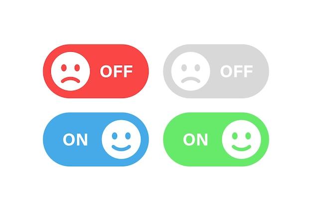 스마일 이모티콘 슬라이더와 슬픈 이모티콘이 있는 스위치 버튼 켜기 및 끄기 아이콘