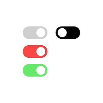 토글 스위치 아이콘 세트. 켜기 및 끄기 버튼입니다. 모바일 앱 또는 웹사이트용. 벡터 eps 10입니다. 흰색 배경에 고립.