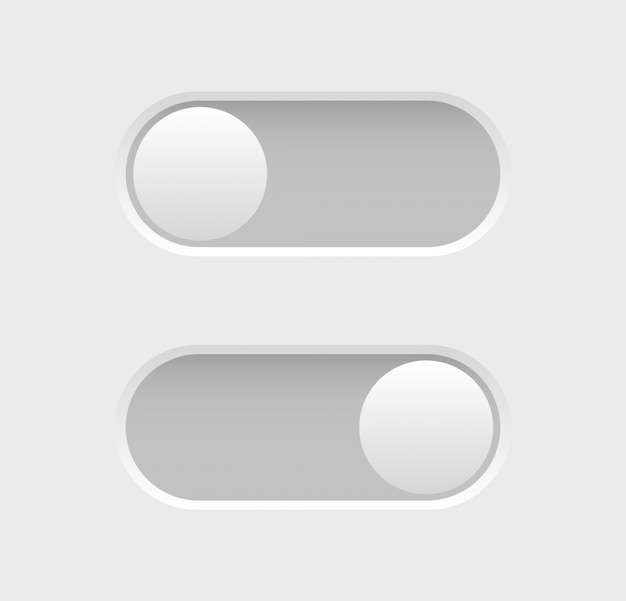 Toggle switch icons. elements of web design. collection of on off buttons.