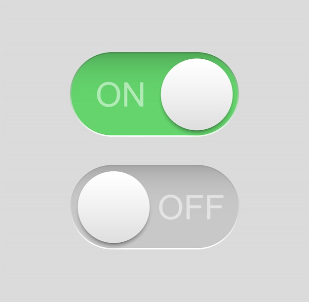 Toggle switch icons. on off buttons.