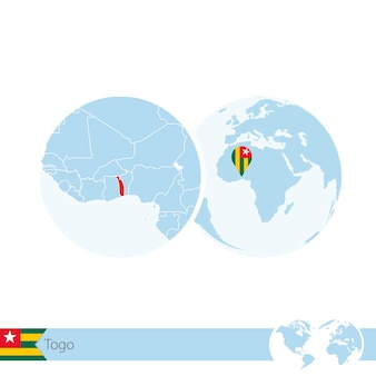 Togo on world globe with flag and regional map of togo. vector illustration.