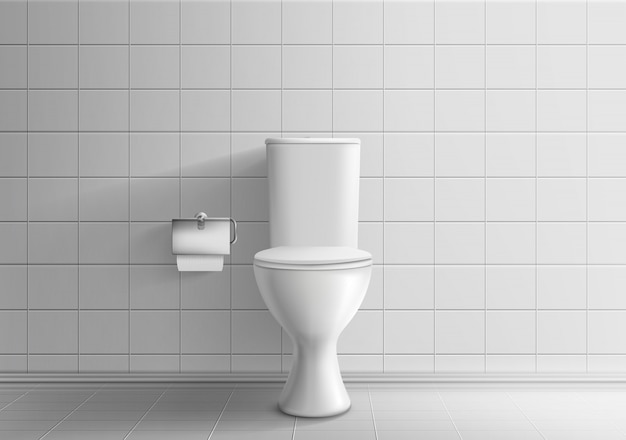 Toiler room minimalistic interior with tiled wall and floor 3d realistic vector mockup