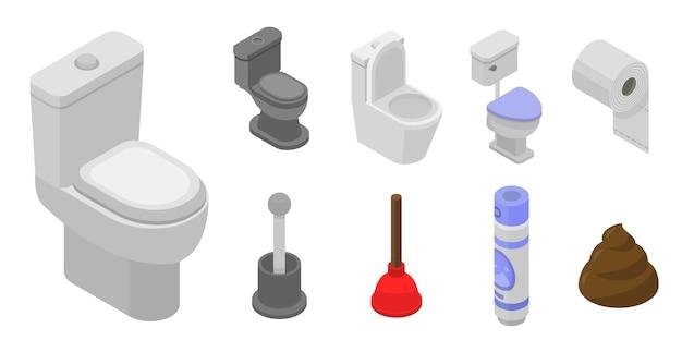 トイレのバスルームのアイコンを設定します。 webデザインの白い背景で隔離のトイレバスルームベクトルアイコンの等尺性セット