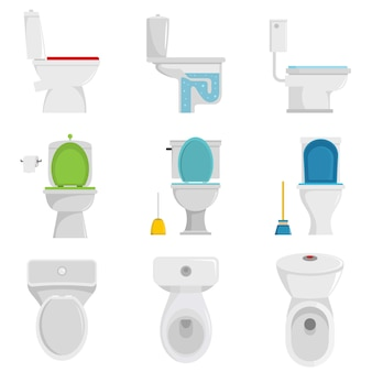 Toilet bowl icons set vector isolated
