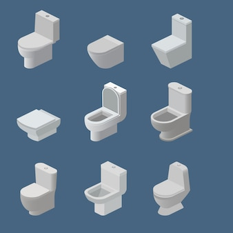 Toilet bowl and seat vector isometric icons toiletries flush and bathroom ceramic equipment