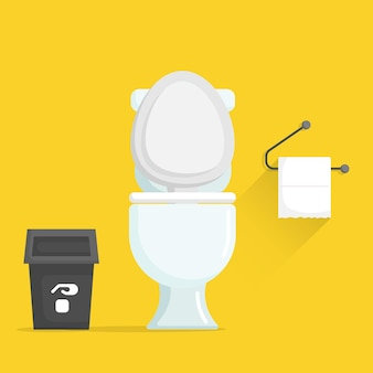 Toilet bowl with trash and toilet paper vector illustration