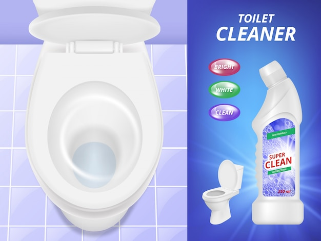 Toilet cleaner advertising. fresh clean  poster liquid detergent toilet sink and bathroom.  realistic picture
