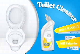 Toilet cleaner advertising poster template of white plastic detergent bottle and toilet